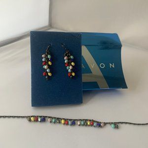 Avon multicolor anklet and earring set NIB